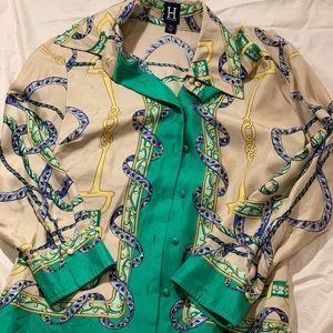 Hilfiger Gold and Green 100% Silk Blouse